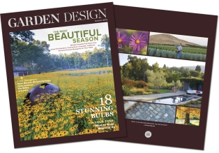Disc Orb at In Situ, Redding on the cover of Garden Design Magazine Summer 2014
