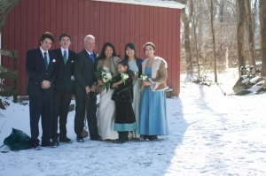 A chilly day for a wedding! And we are missing 3 of the 8 children! Jan 2015